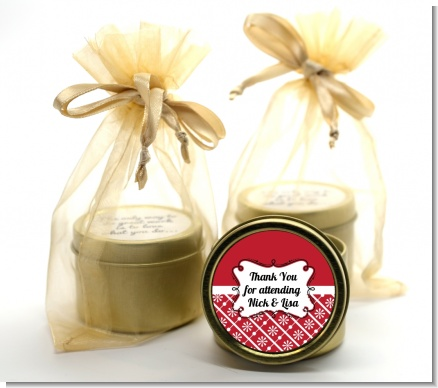 Modern Thatch Red -  Gold Tin Candle Favors