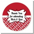 Modern Thatch Red - Personalized Everyday Party Round Sticker Labels thumbnail