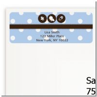Modern Baby Boy Blue Polka Dots - Baby Shower Return Address Labels