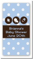 Modern Baby Boy Blue Polka Dots - Custom Rectangle Baby Shower Sticker/Labels
