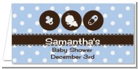 Modern Baby Boy Blue Polka Dots - Personalized Baby Shower Place Cards