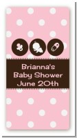 Modern Baby Girl Pink Polka Dots - Custom Rectangle Baby Shower Sticker/Labels