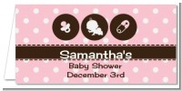 Modern Baby Girl Pink Polka Dots - Personalized Baby Shower Place Cards