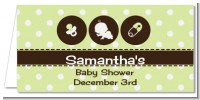 Modern Baby Green Polka Dots - Personalized Baby Shower Place Cards