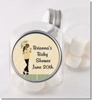 Mod Mom African American - Personalized Baby Shower Candy Jar
