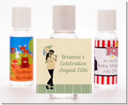 Mod Mom African American - Personalized Baby Shower Hand Sanitizers Favors