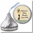 Mod Mom African American - Hershey Kiss Baby Shower Sticker Labels thumbnail