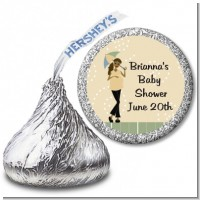 Mod Mom African American - Hershey Kiss Baby Shower Sticker Labels