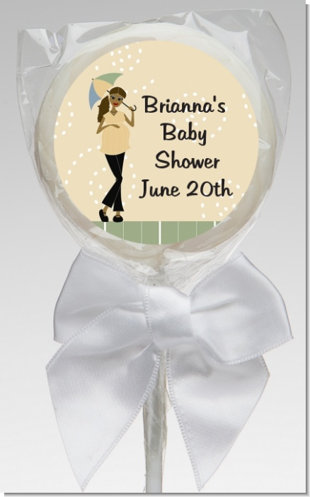 Mod Mom African American - Personalized Baby Shower Lollipop Favors