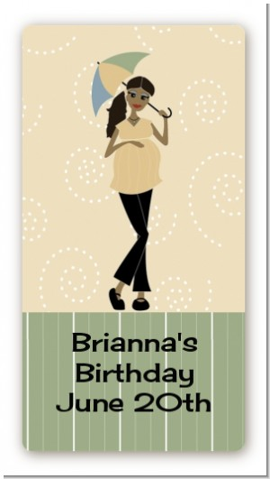 Mod Mom African American - Custom Rectangle Baby Shower Sticker/Labels