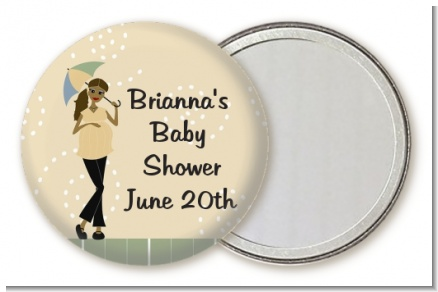 Mod Mom African American - Personalized Baby Shower Pocket Mirror Favors