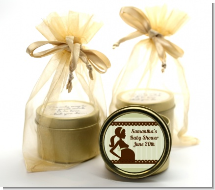 Mommy Silhouette It's a Baby - Baby Shower Gold Tin Candle Favors
