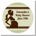 Mommy Silhouette It's a Baby - Round Personalized Baby Shower Sticker Labels thumbnail