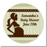 Mommy Silhouette It's a Baby - Round Personalized Baby Shower Sticker Labels