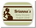 Mommy Silhouette It's a Baby - Personalized Baby Shower Rounded Corner Stickers thumbnail