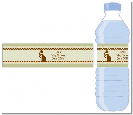 Mommy Silhouette It's a Baby - Personalized Baby Shower Water Bottle Labels