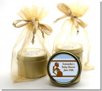 Mommy Silhouette It's a Boy - Baby Shower Gold Tin Candle Favors