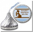 Mommy Silhouette It's a Boy - Hershey Kiss Baby Shower Sticker Labels thumbnail