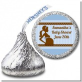 Mommy Silhouette It's a Boy - Hershey Kiss Baby Shower Sticker Labels