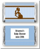 Mommy Silhouette It's a Boy - Personalized Baby Shower Mini Candy Bar Wrappers