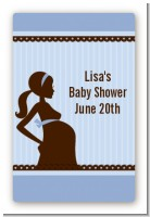 Mommy Silhouette It's a Boy - Custom Large Rectangle Baby Shower Sticker/Labels