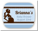Mommy Silhouette It's a Boy - Personalized Baby Shower Rounded Corner Stickers