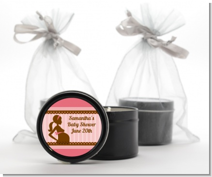 Mommy Silhouette It's a Girl - Baby Shower Black Candle Tin Favors