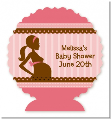 Mommy Silhouette It's a Girl - Personalized Baby Shower Centerpiece Stand