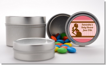 Mommy Silhouette It's a Girl - Custom Baby Shower Favor Tins