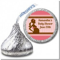 Mommy Silhouette It's a Girl - Hershey Kiss Baby Shower Sticker Labels
