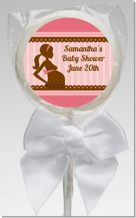 Mommy Silhouette It's a Girl - Personalized Baby Shower Lollipop Favors
