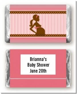Mommy Silhouette It's a Girl - Personalized Baby Shower Mini Candy Bar Wrappers