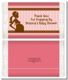 Mommy Silhouette It's a Girl - Personalized Popcorn Wrapper Baby Shower Favors