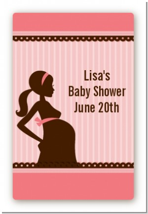 Mommy Silhouette It's a Girl - Custom Large Rectangle Baby Shower Sticker/Labels