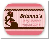 Mommy Silhouette It's a Girl - Personalized Baby Shower Rounded Corner Stickers