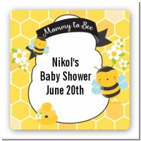 Mommy To Bee - Square Personalized Baby Shower Sticker Labels