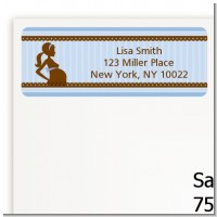 Mommy Silhouette It's a Boy - Baby Shower Return Address Labels