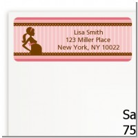 Mommy Silhouette It's a Girl - Baby Shower Return Address Labels