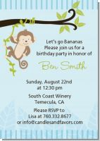 Monkey Boy - Birthday Party Invitations