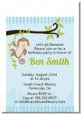 Monkey Boy - Birthday Party Petite Invitations