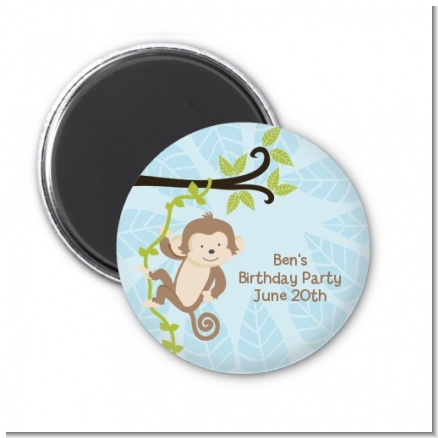 Monkey Boy - Personalized Birthday Party Magnet Favors