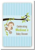 Monkey Boy - Custom Large Rectangle Baby Shower Sticker/Labels