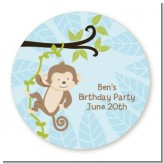 Monkey Boy - Round Personalized Birthday Party Sticker Labels