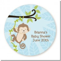 Monkey Boy - Round Personalized Baby Shower Sticker Labels
