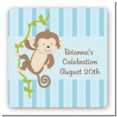 Monkey Boy - Square Personalized Baby Shower Sticker Labels