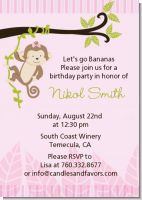 Monkey Girl - Birthday Party Invitations