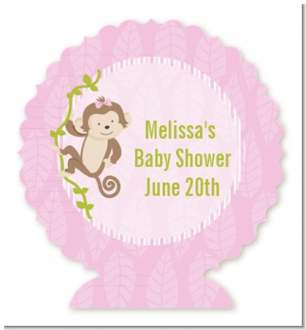 Monkey Girl - Personalized Baby Shower Centerpiece Stand