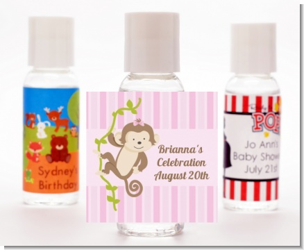 Monkey Girl - Personalized Birthday Party Hand Sanitizers Favors