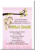 Monkey Girl - Birthday Party Petite Invitations