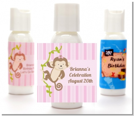 Monkey Girl - Personalized Birthday Party Lotion Favors